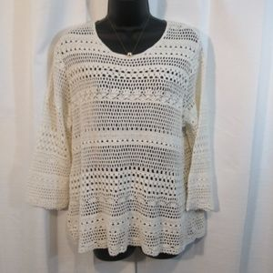 Appleseed's open weave pullover seater. Large.